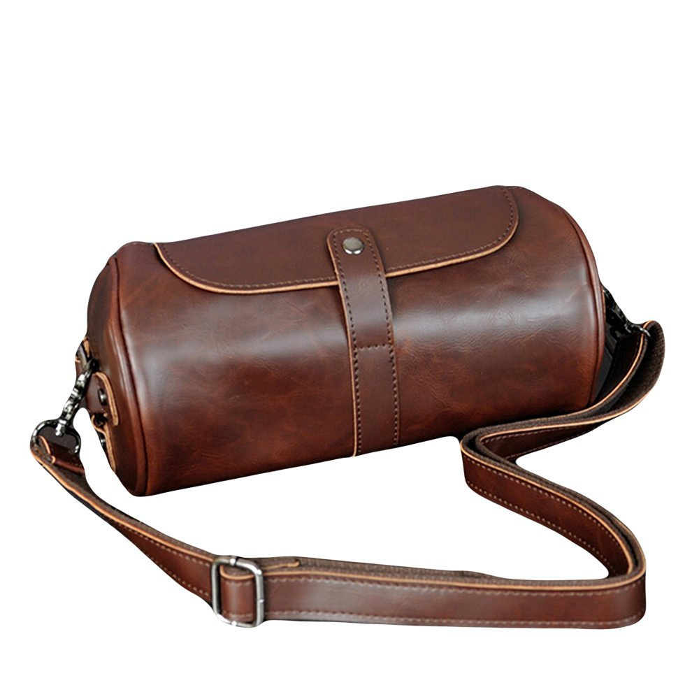 Youngage Man's Pu Leather Shoulder Bag Retro Round Bucket Sports Messenger Bag Coffee
