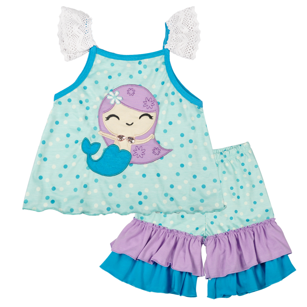 Spring Summer Kids Girls Clothing Fish Sleeveless Top Blue Ruffle Pants Boutique Children Outfits Baby Cotton Dress, As the pic show
