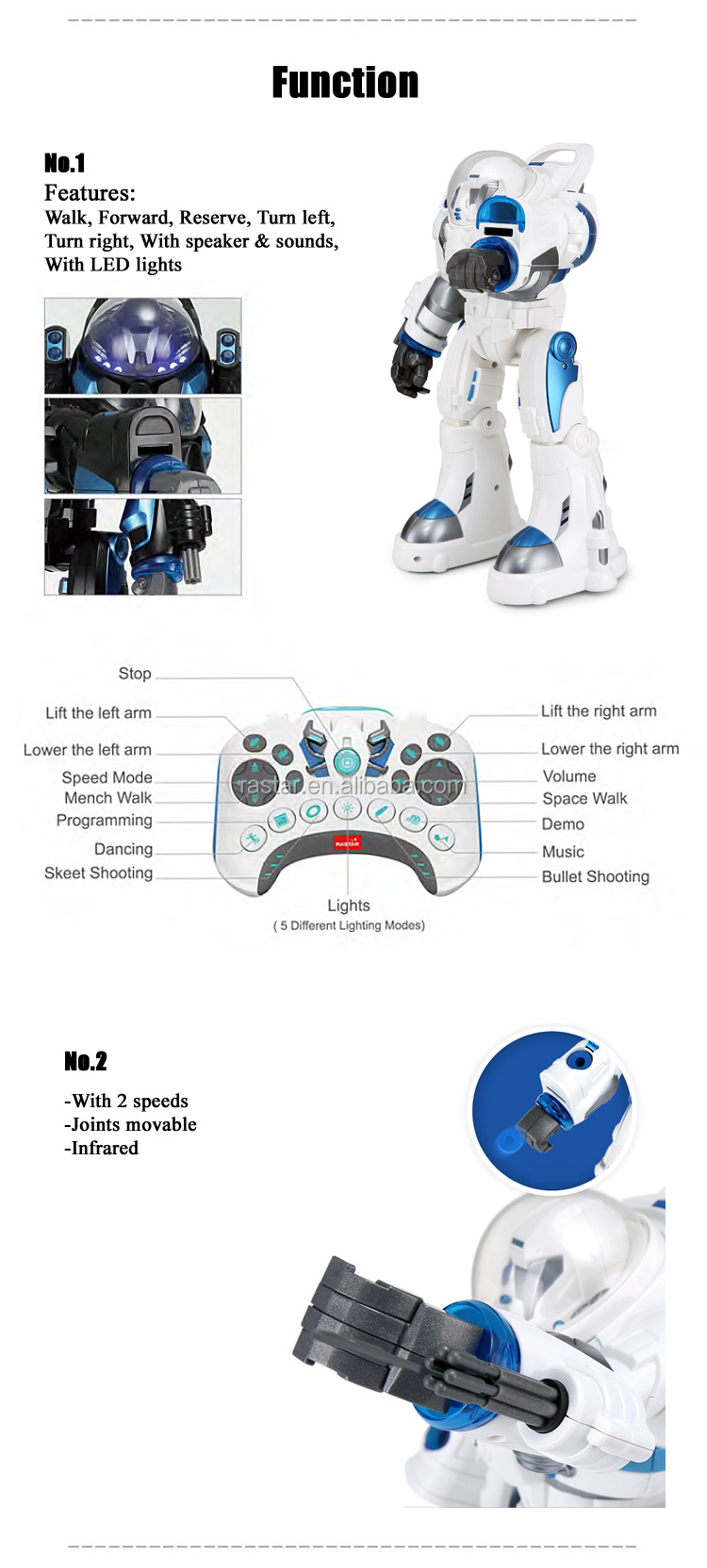 RS Rastar wholesale plastic robot battery rc toy humanoid robot