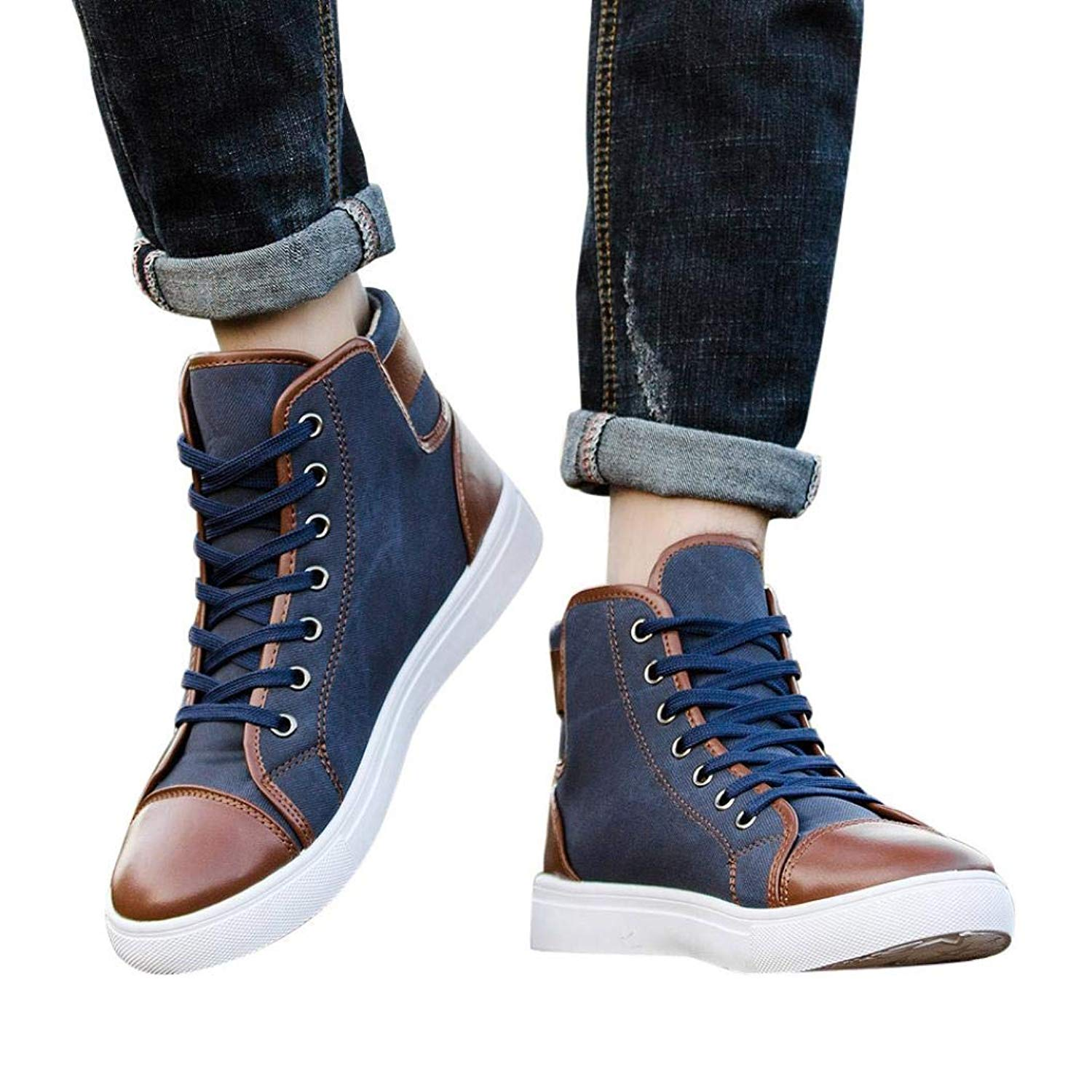 HTHJSCO Women Men's High Top Vintage Sneaker, Lace-up Ankle Boots Shoes Casual High Top Canvas Shoes