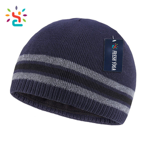 Black beanie ski winter hats fuzzy lined monogrammed jacquard running thermal watch cap