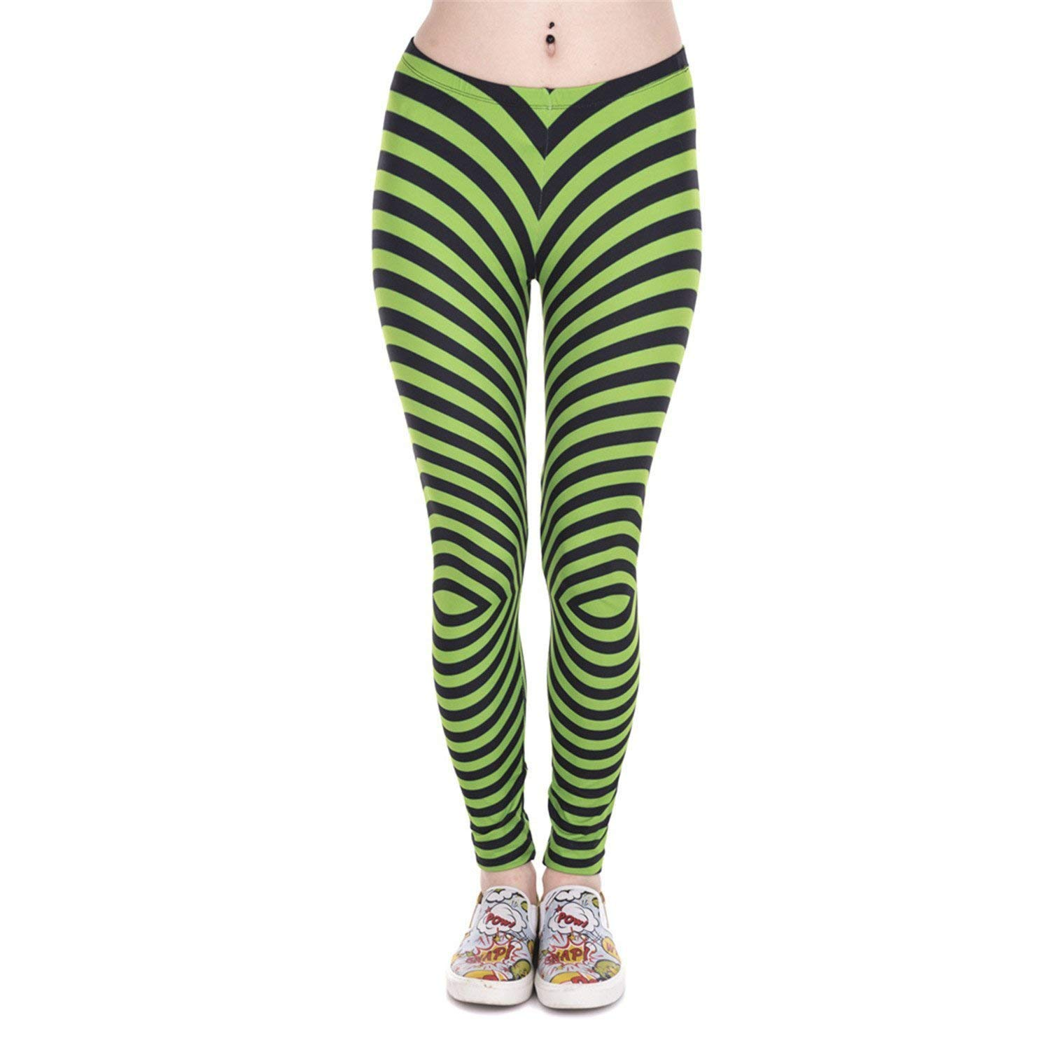 KEBINAI Athletic-leggings Kebinai Women Leggings Green with Black Stripes Printed Fitness Legging High Waist Woman Pants