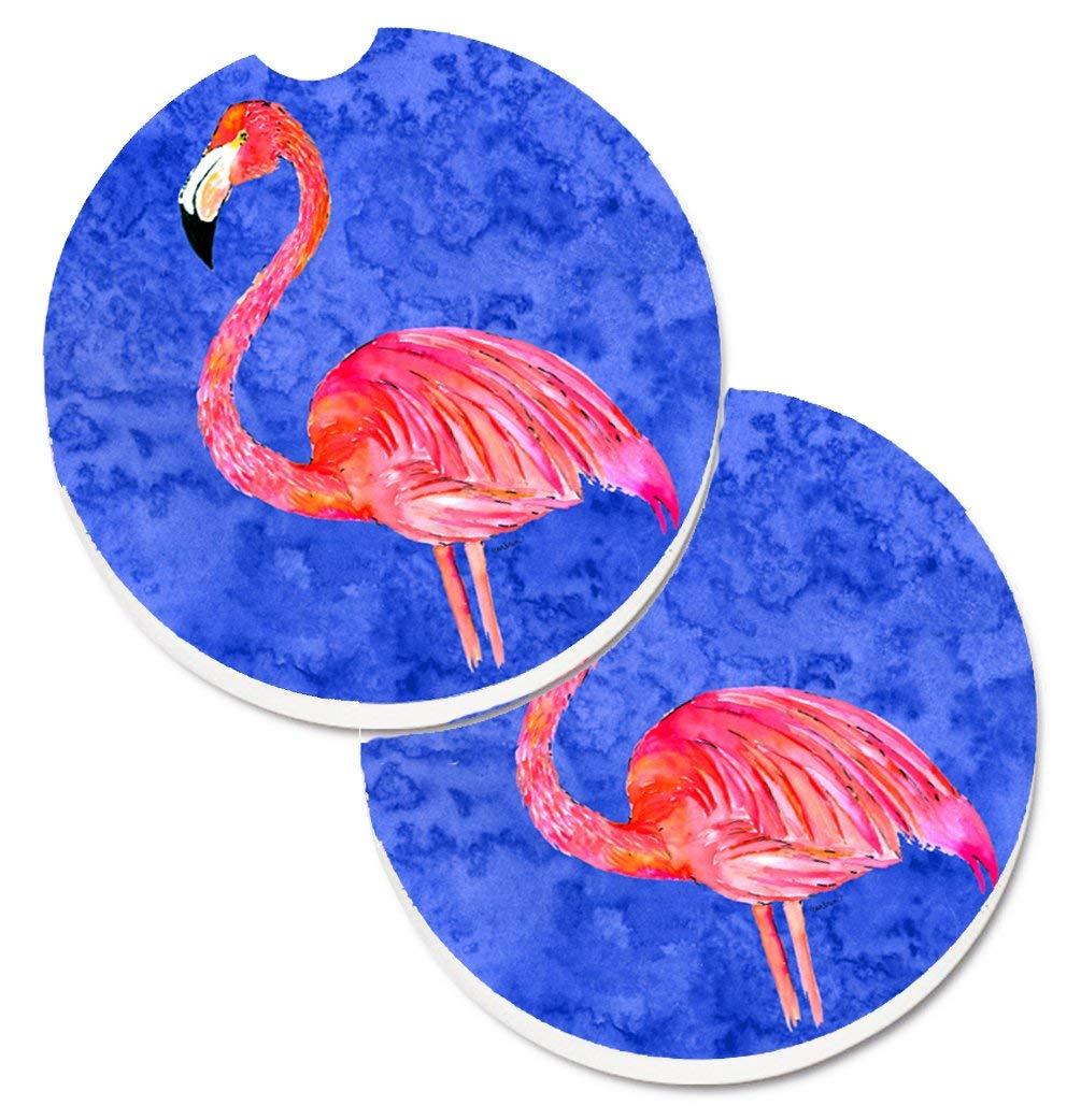Caroline's Treasures Flamingo Set of 2 Cup Holder Car Coasters 8685CARC, 2.56, Multicolor