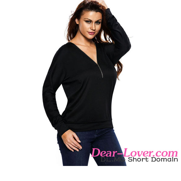 2016 Hot Sale Latest Casual Black Zip Up V Neck Loose Fit Sweatshirt Women