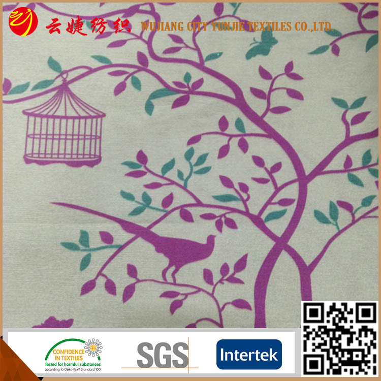 Printed slub poly dupion fabric for curtain