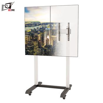 Height Adjustable Dual Screen Tv Floor Stand Vertical