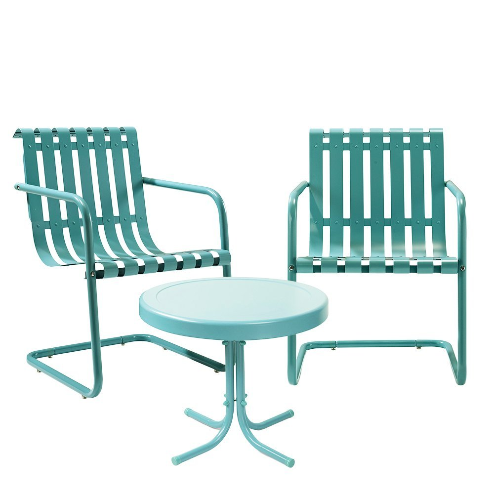 Crosley Furniture Gracie 3-Piece Retro Metal Outdoor Conversation Set with Side Table and 2 Chairs - Caribbean Blue