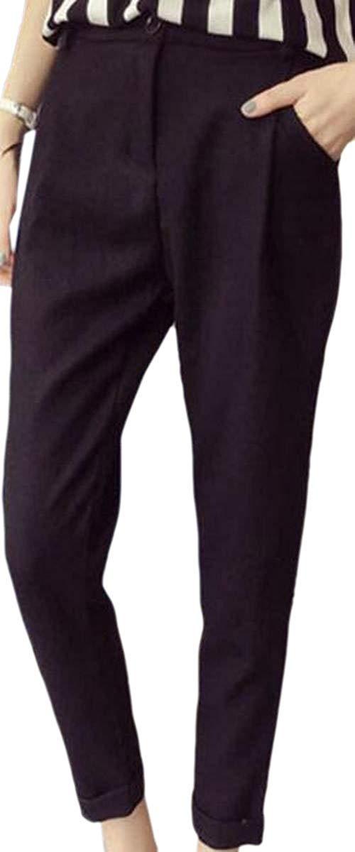 CBTLVSN Mens Linen Cotton Elastic Waist Drawstring Denim Pants Harem Running Jeans