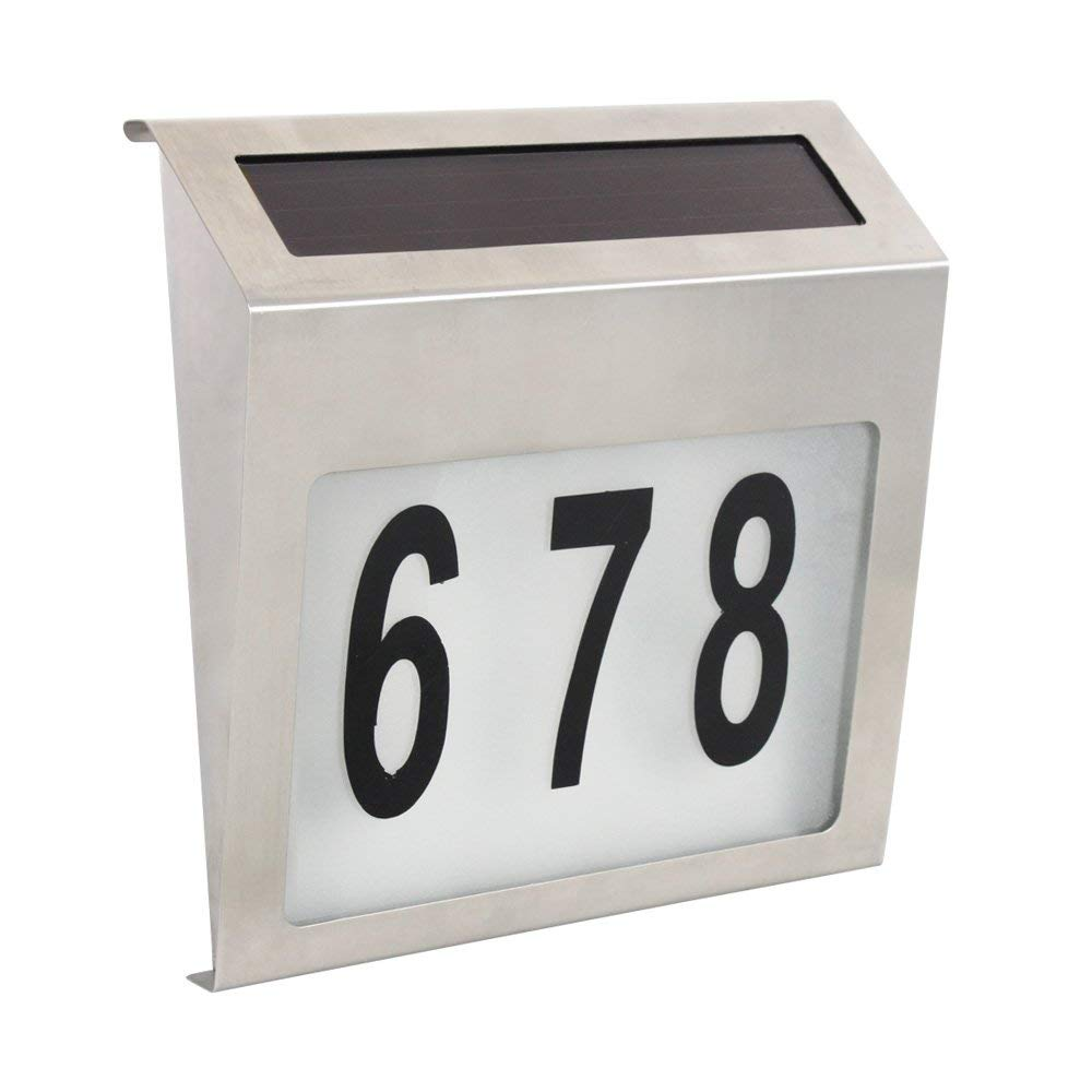 Solar powered led house address signs stainless steel street road number lamp