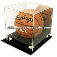 Clear Acrylic Basketball Acrylic Plastic Dispaly Holder Stand Basketball Display Case With Mirrored Back and Gold Risers