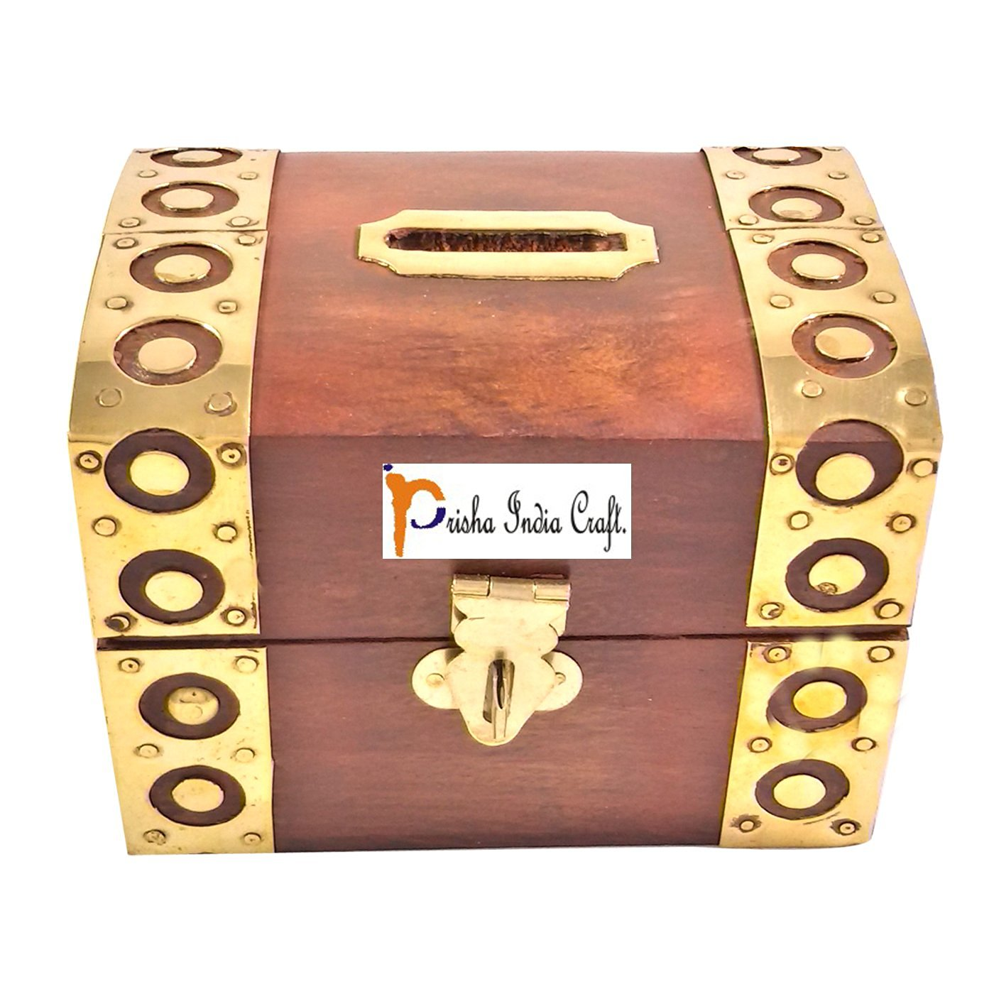 Prisha India Craft Handcrafted Wooden Money Box Safe Piggy Bank for Girls and Boys wooden money bank CHRISTMAS GIFT ITEM 3 X 3 X 4 Inch, Square Style