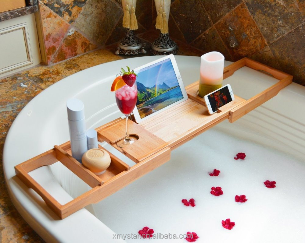 Bamboo Bathtub Caddy With Ipad Rack And Reading Rack Factory Bsci ...