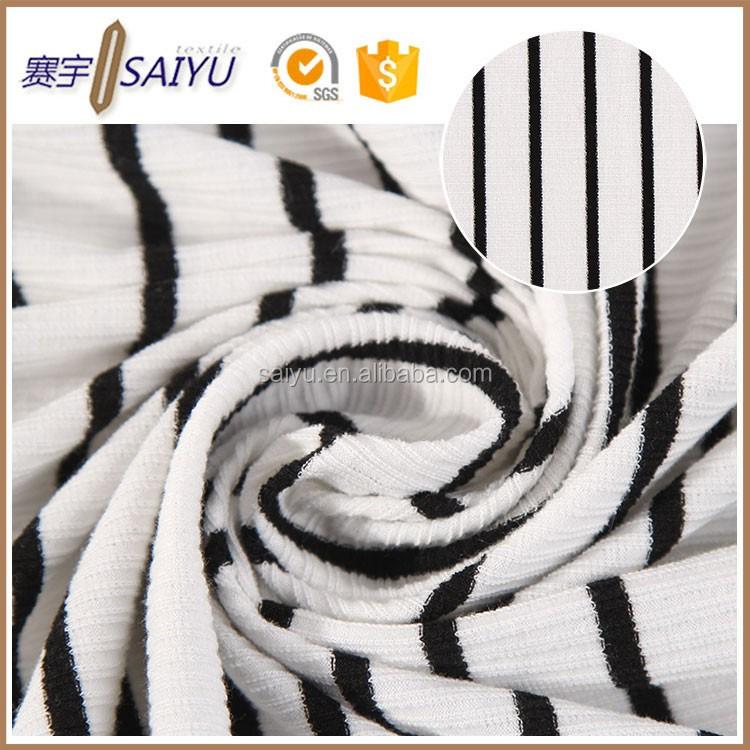 Blanco y negro de la raya de composición poli rayón spandex costilla ...