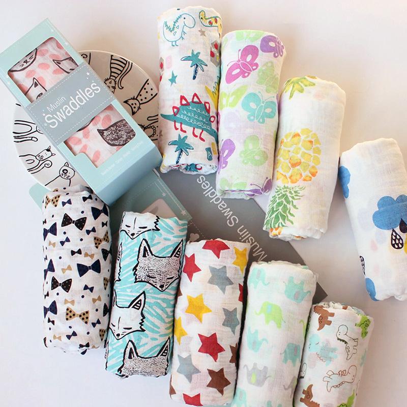 new Baby Blankets Newborn Soft Organic Cotton infant blanket pattern Muslin Swaddle Wrap Feeding Burp Cloth Towel Scarf Stuff
