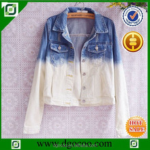 Ocoo Top design OEM service fashion washed denim dip dye women jacket