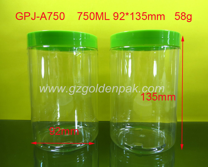 25oz 750ml plastic jar, 25ozPET Food grade jar .clear plastic jar with plastic lids,pet plastic jar aluminium cap
