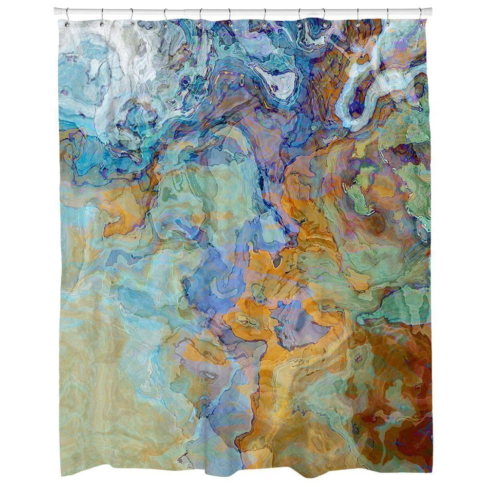 Get Quotations Abstract Art Shower Curtain Blue Green Orange And Brown