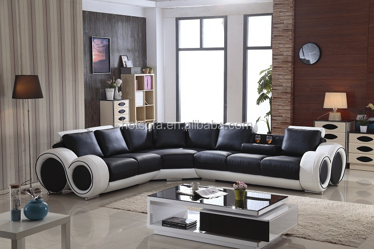 New Modern L Shaped Leather Sofa Set Design For Living Room