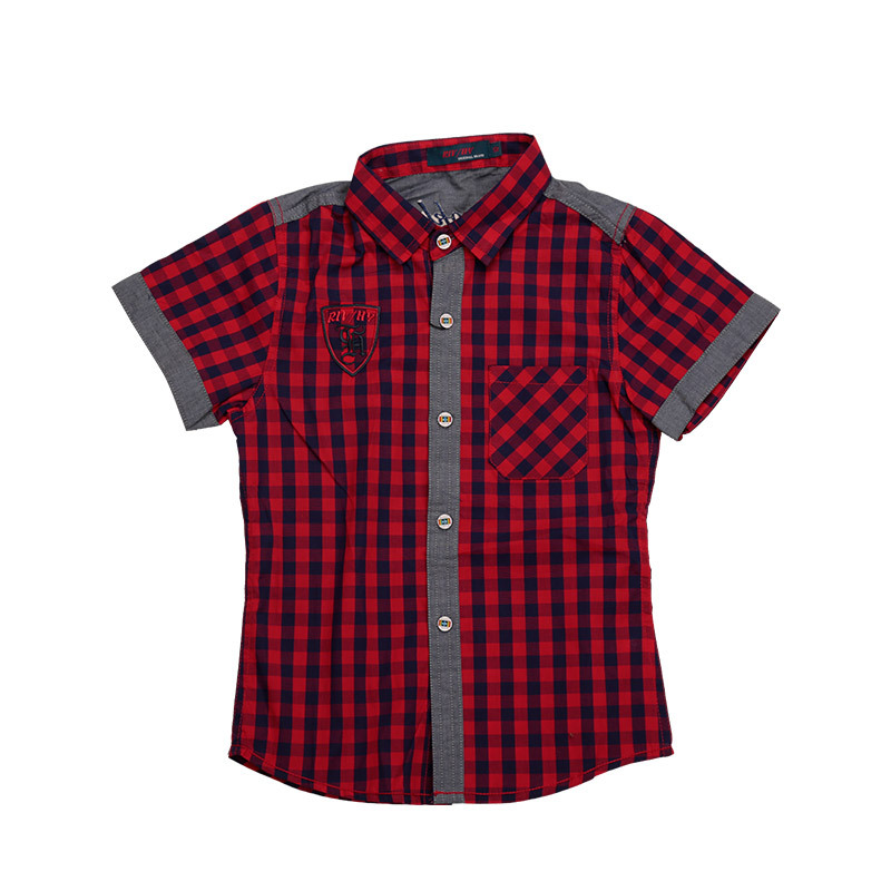 Wholesale England Style Boys Shirt Summer Plaid Clothing for Children Boys T-shirt Short Sleeve Plaid Clothes 5 Pcs in lot