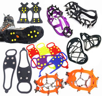 Wholesale Mountain climbing crampons Winter Snow Skiing Silicone Shoe covers non-slip 4 5 8 10 12 18 tooth Rubber ice gripper