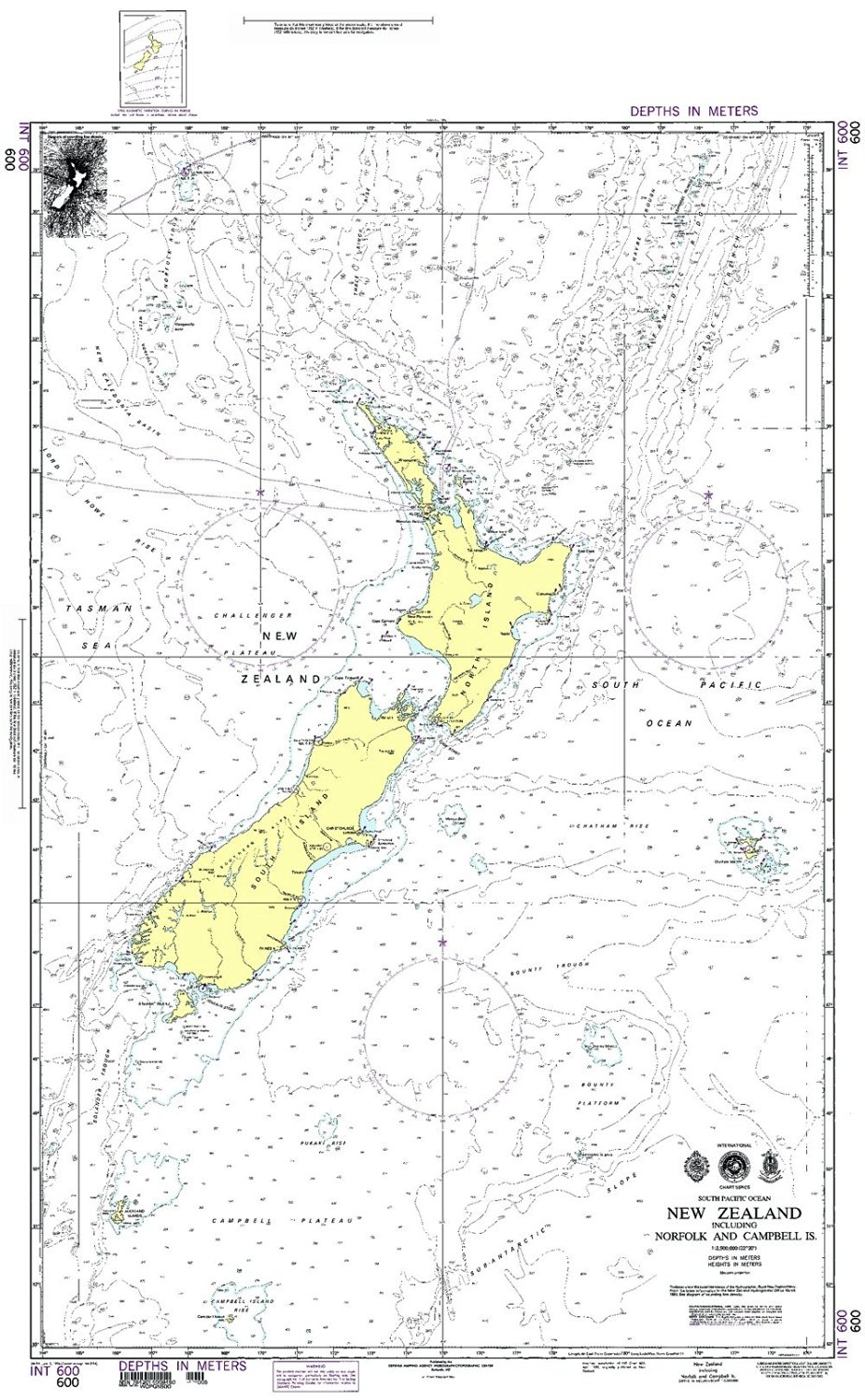 NGA Chart 600WP: South Pacific Ocean New Zealand Including Norfolk And Campbell Isl; 28 X 45; WATERPROOF