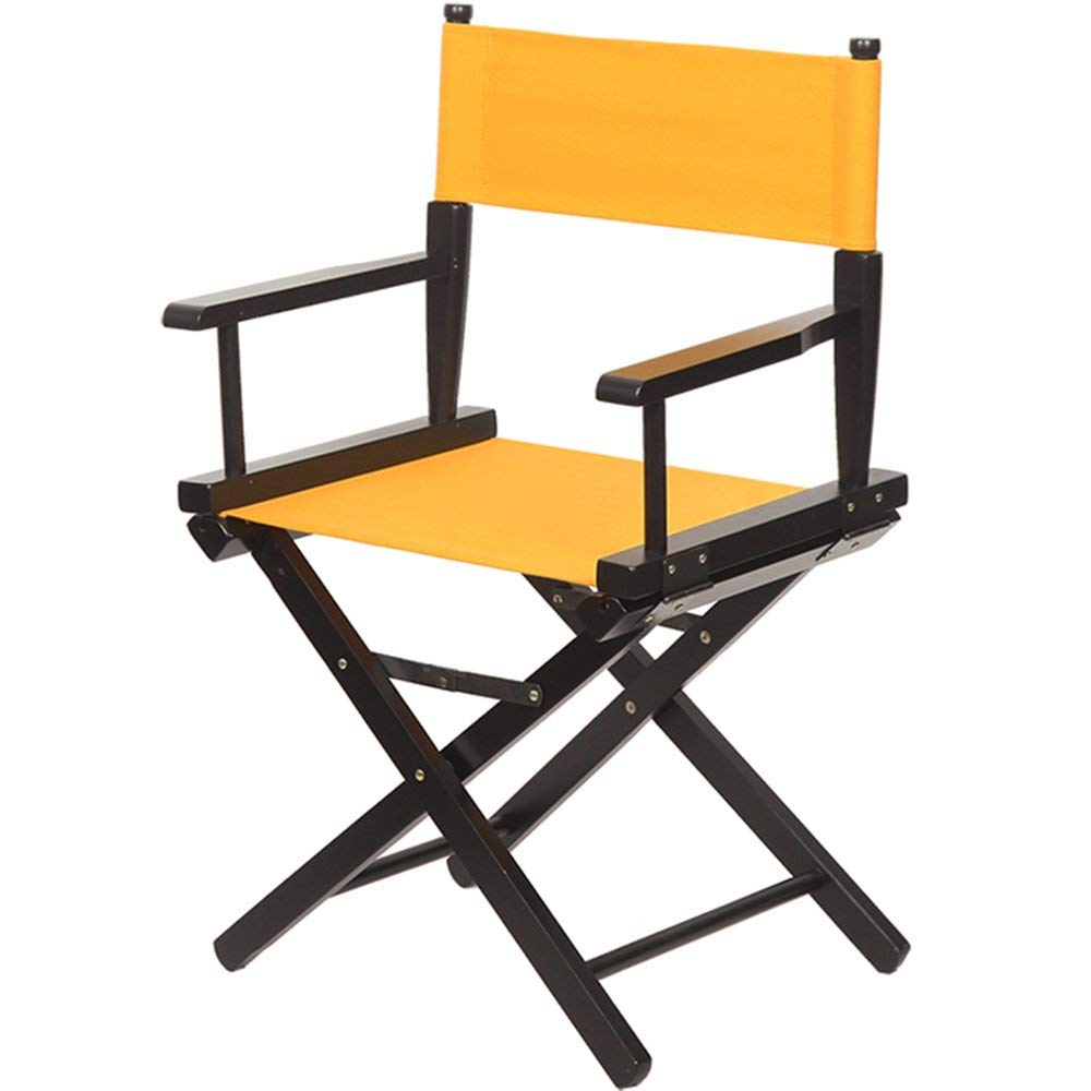 ZHIRONG Director's Chair Outdoor Leisure Portable Folding Chair Solid Wood Canvas Backrest Makeup Chair Computer Chair (Color : Yellow)