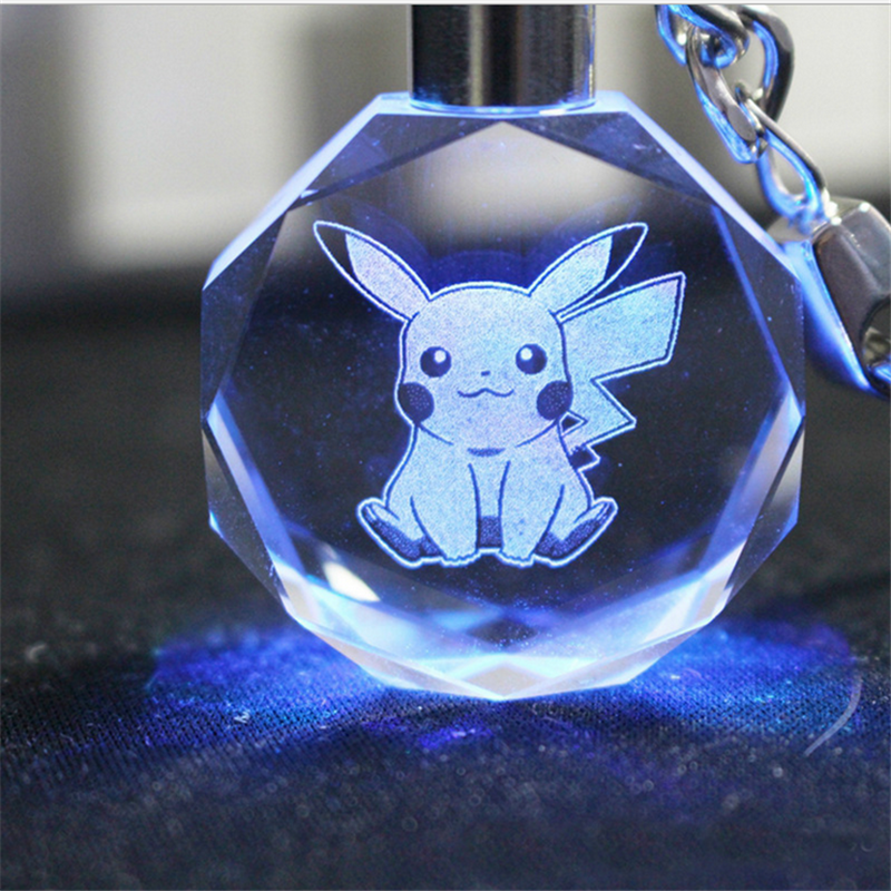 Beautiful Pikachu ovil Crystal Glass Anime Keychain with Inner Laser Engraving