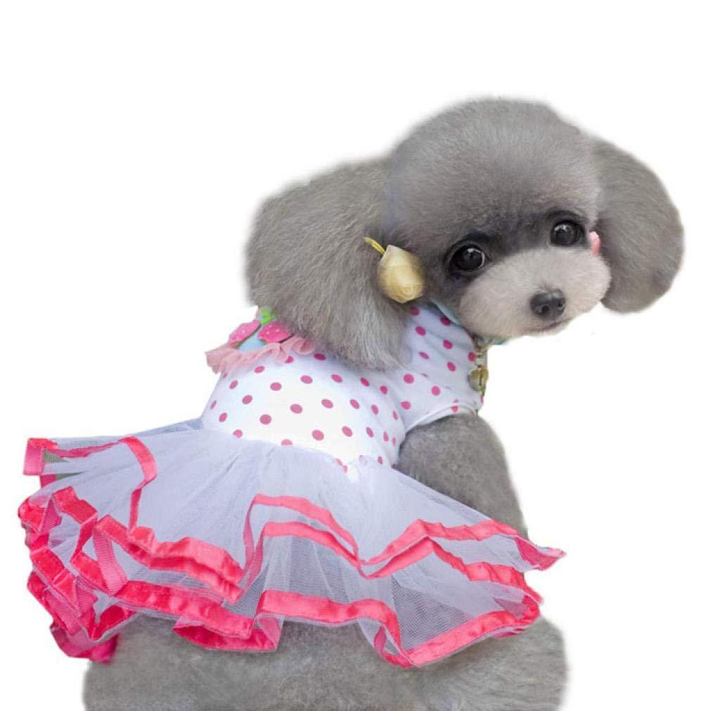 Asibeiul Fashion Puppy Dog Princess Dress Dog Cherry Lace Skirt Pet Dog Tutu Dress