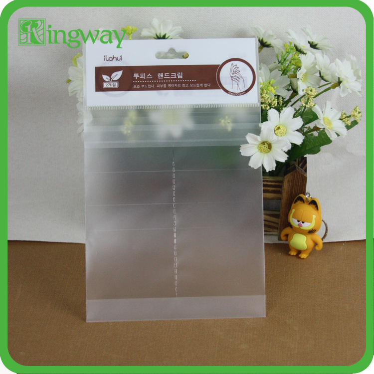 composite back seal header plastic bag with bottom gusset and header printing for cosmetic packing