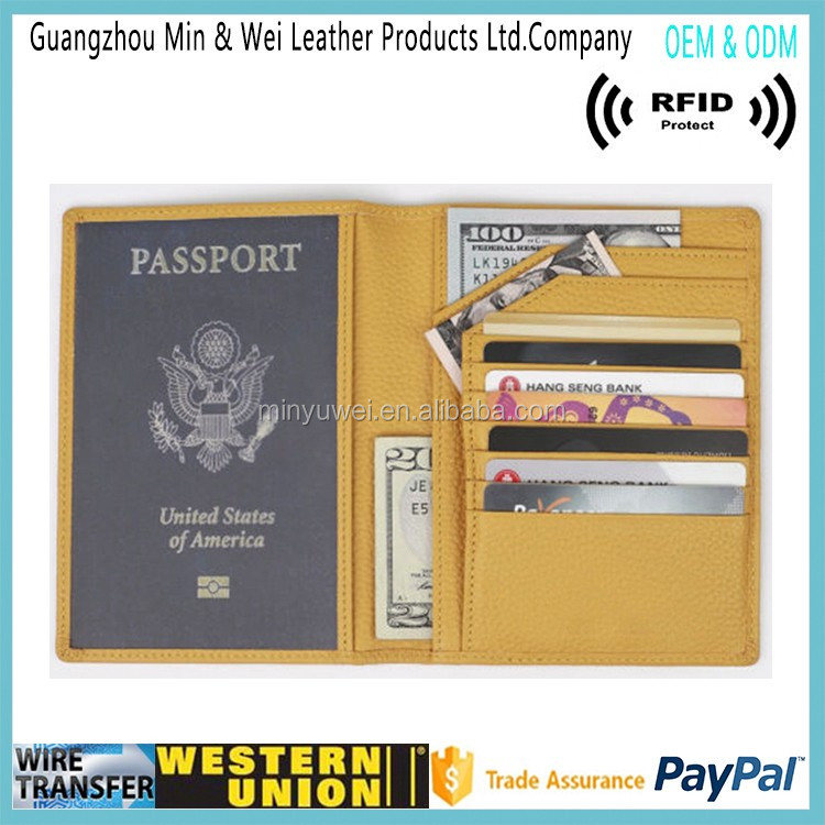 Fancy Style Women's RFID Blocking Travel Wallet Leather Passport Holder
