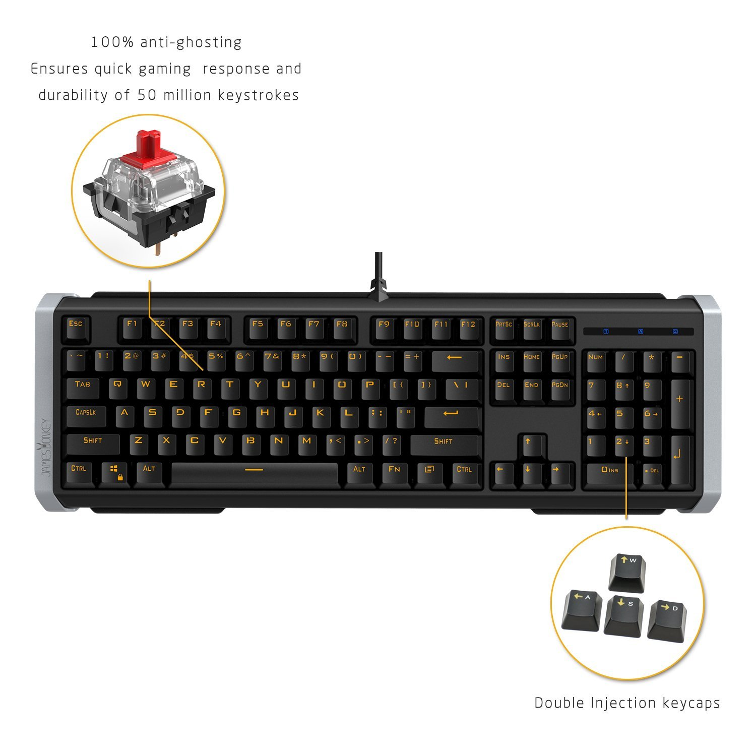 James Donkey Mechanical Gaming Keyboard,Yellow LED Backlit Anti-Gosting USB Wired keyboard for Computer PC Mac Laptop Tablet Gamer CS LOL (Black+Red Switch)