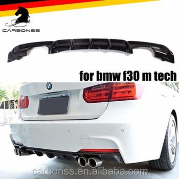 For Bmw F30 Carbon Fiber Rear Diffuser 4pipes For M Tech Bumper 320i