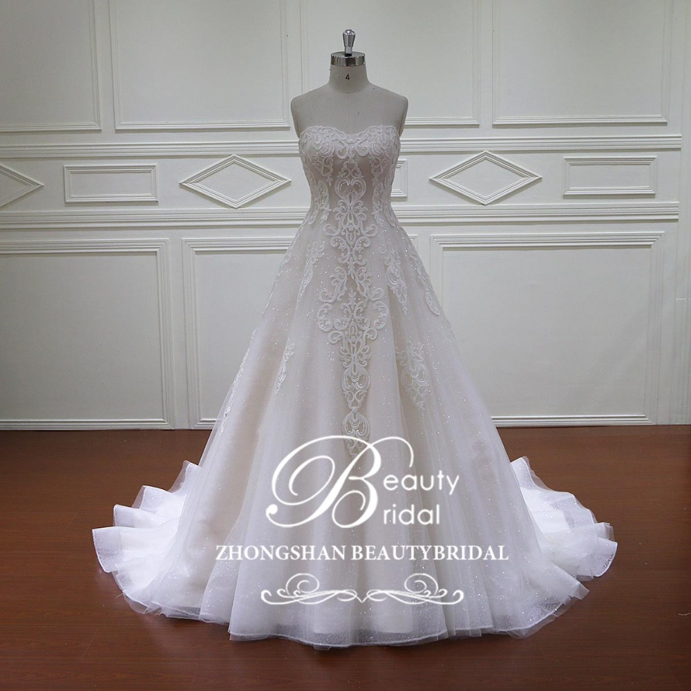 Hd024 Wedding Dress With Light Brown Sash White For Plus Size Women