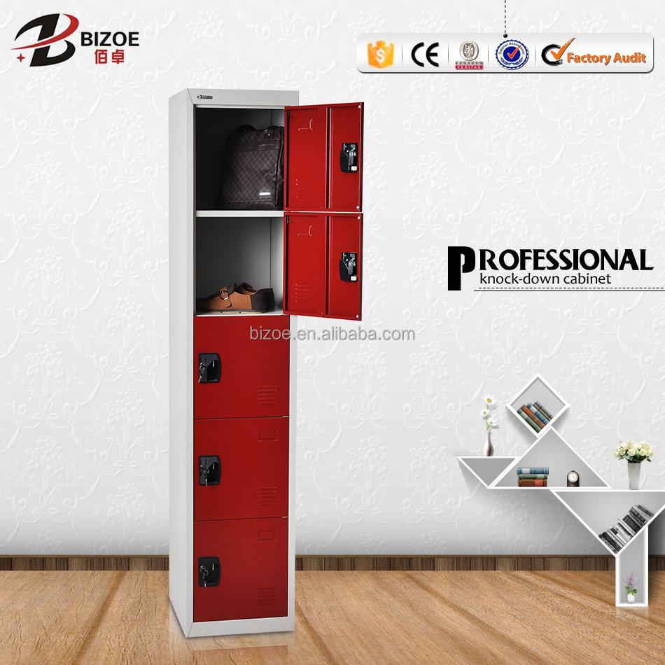 Powder coated bedroom furniture steel almirah 5 door fancy bedroom wardrobe