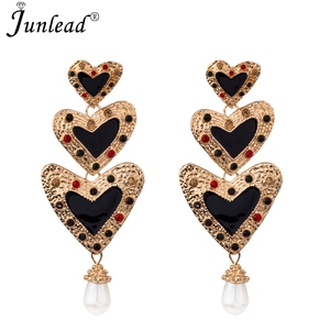 Fashion ZA 2018 Sweet Heart Dangle Earrings Vintage gold Metal pearl drop earrings For Women Jewelry