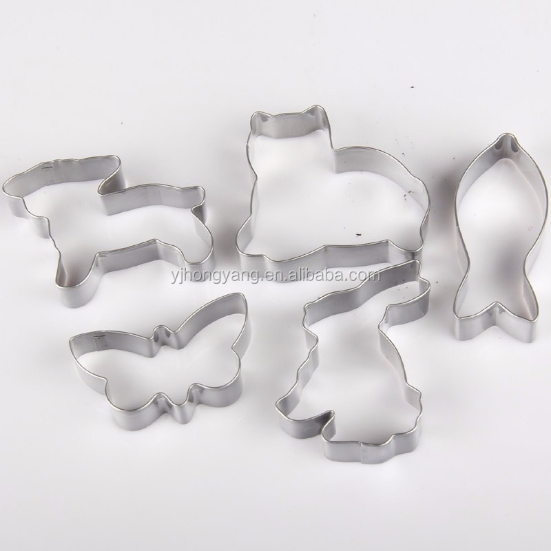 5pcs easter stainless steel cookie press and cutter set