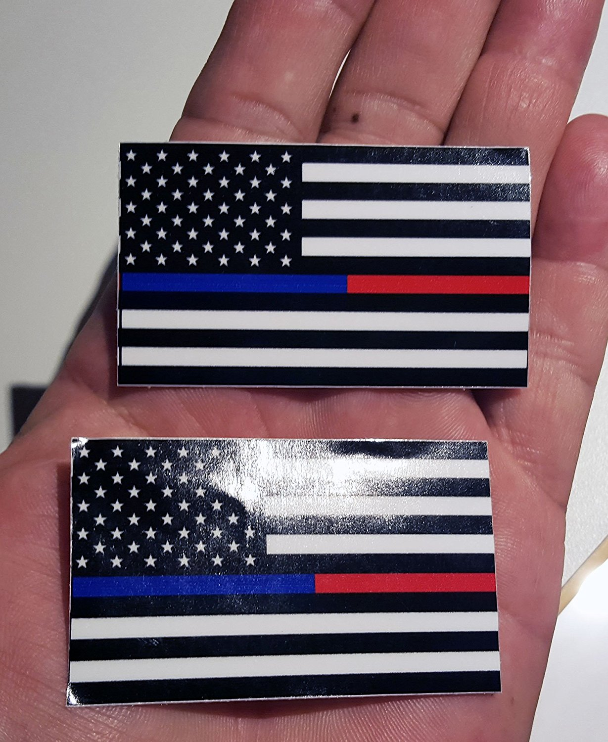 """2.5""""x1.5"""" MINI THIN BLUE LINE POLICE & THIN RED LINE FIREFIGHTER DECAL Respect and Honor Law enforcement First Responder US flag 3x5 Inches DECAL USA (2 pack)"""