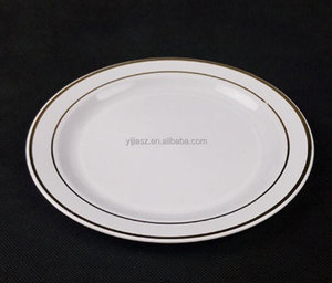 gold hot stamp PS disposable plastic plate