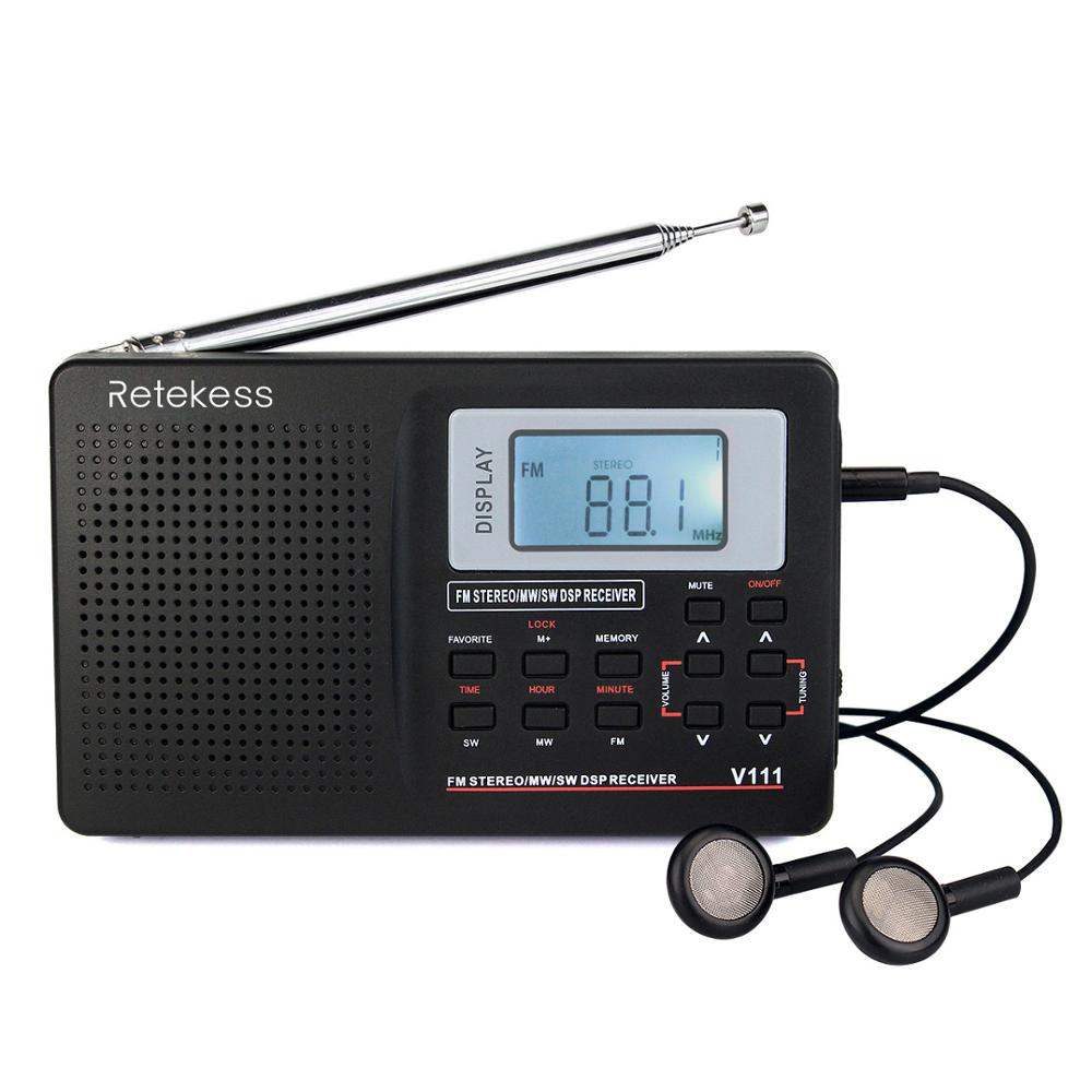 Black Hefei-us Mini Portable FM AM Two Band Radio with Loudspeaker Color : Black
