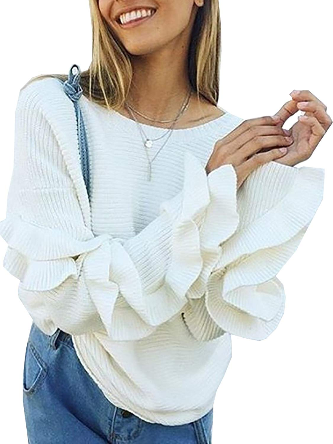 d3807d91a91 Get Quotations · FEIYOUNG Women Long Sleeve Blouse Sweater Knitted Dressy  Pullovers Sweaters