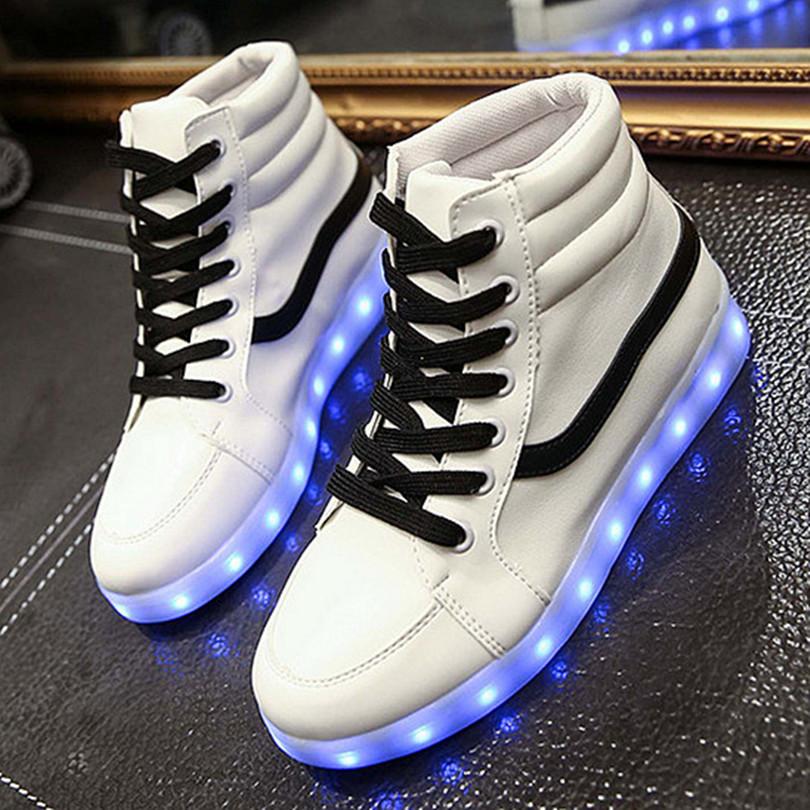 2015 New Fall Winter White High Top LED Light Shoes Men ...