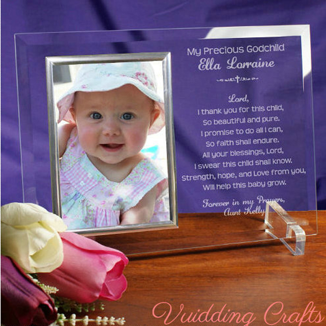 Personalized Glass Baby Girl Princess Photo Frame For Birthday Gifts