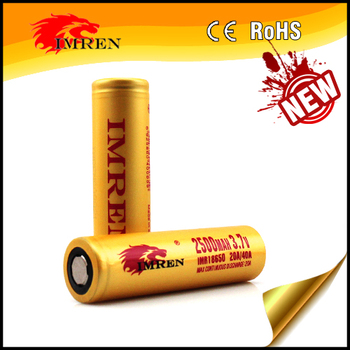 New Gold IMREN 18650 2500mAh Max40A 20A continuous discharge for mechnical mod