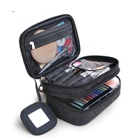 professional makeup bag travel kit organizer bathroom storage cosmetic case bag with mirror