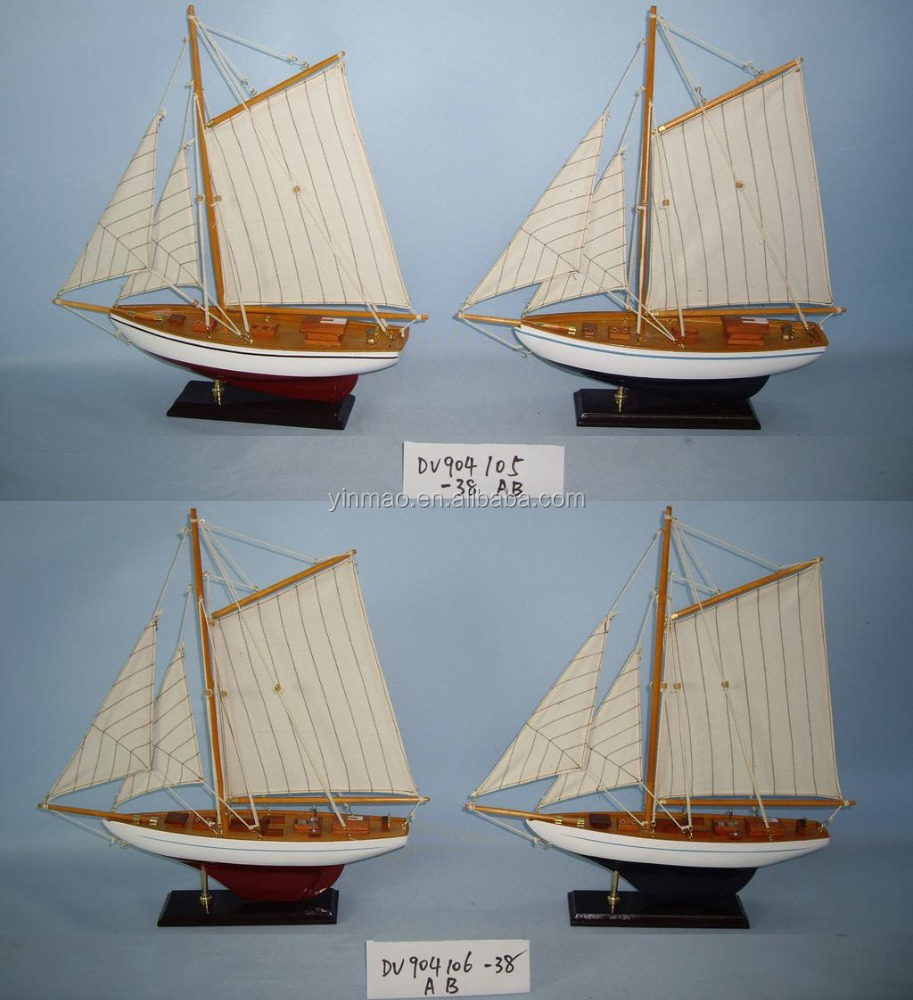 Set 4 modern finish wooden Sailing ship model, 38X7X40cm Nautical boat model, BLUE + RED 2 mast sail yacht model