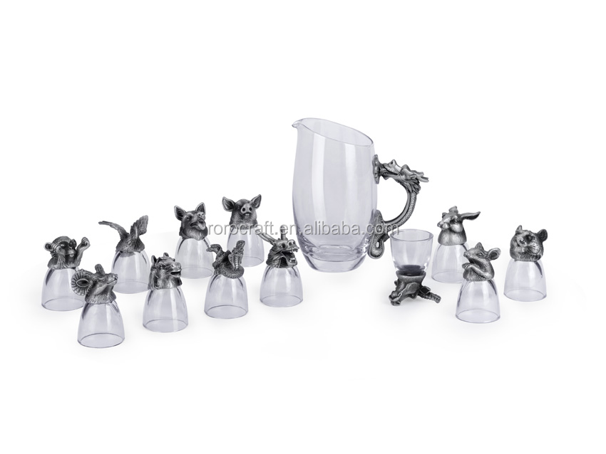 12Chinese zodiac wine set with decanserpewter animal head glass dragon /snake/rabbit shot glass home decoration