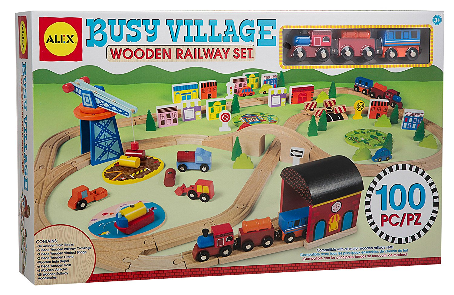 Kids Destiny Deluxe Wooden Railway Set with Vocal Sound and Lots of accessories 130+ pcs 100/% Compatible with All Major Brands Including Thomas Wooden Railway System