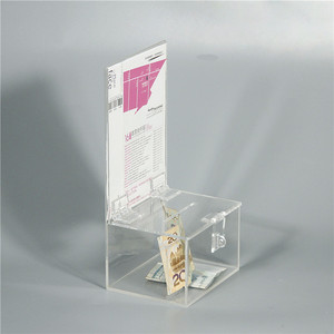 Custom clear acrylic suggestion box donation charity box with holder and lock