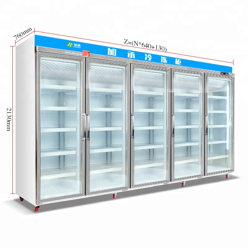 Jiacheng supermarket commercial refrigerator used glass door upright display freezer for meatballs seafood