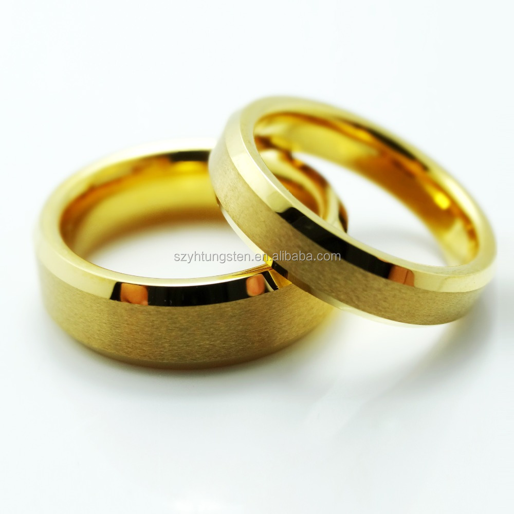 High Quality 100% Pure Gold Plated Tungsten Carbide Ring Mat Finished Wedding Band Ring For Couple Free Engraving
